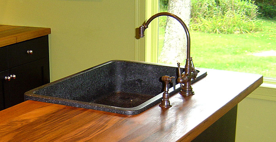 Teak countertop with overmount sink
