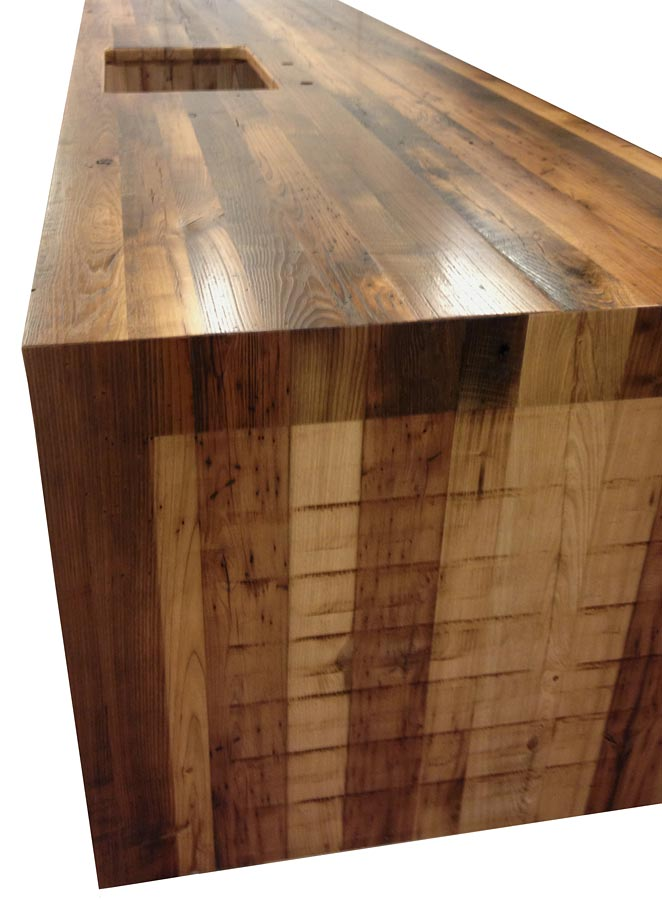 Reclaimed Chestnut Pastore™ Waterfall Countertop