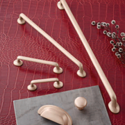 Arcadian Collection Handles and Knobs in Brushed Bronze