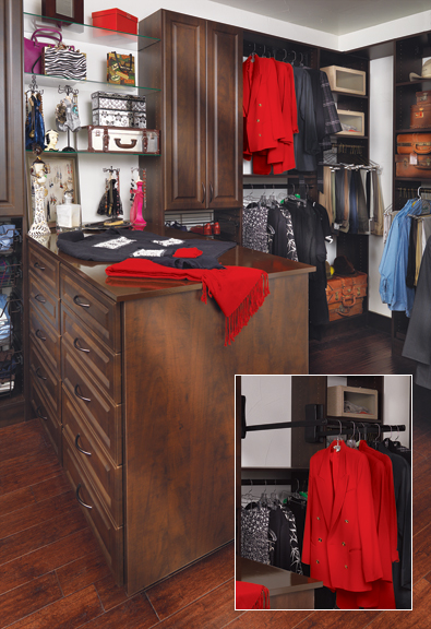 "Palisade Door | Mahogany Melamine.  A large closet benefits from a mix of open and closed storage to keep it from looking like a ""wall of clothes."" A wardrobe lift (shown pulled down in the inset) allows the homeowner to store frequently used items on a higher pole."