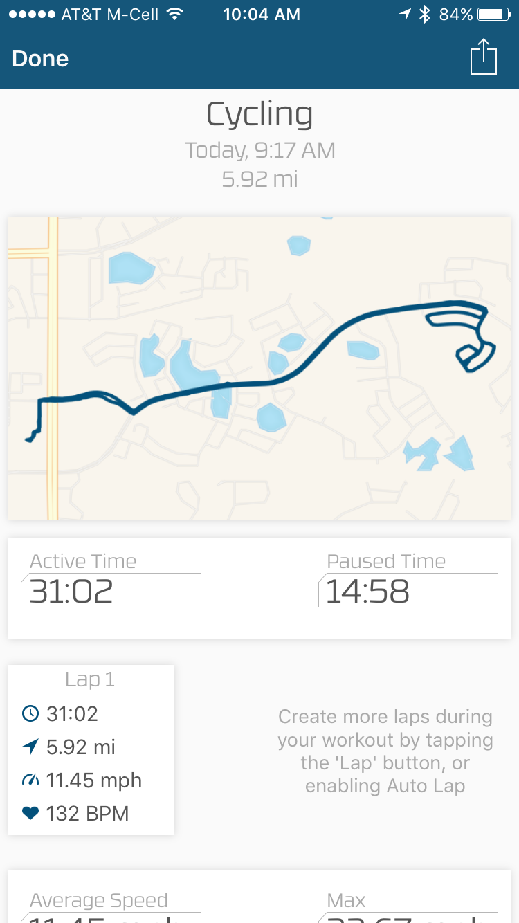 I added a neighborhood loop to make sure my ride was 30 minutes long so FitBit would consider it exercise.