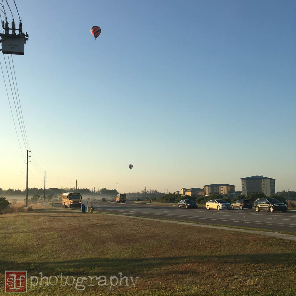 Hot air balloons seen at SR56 and Mansfield.
