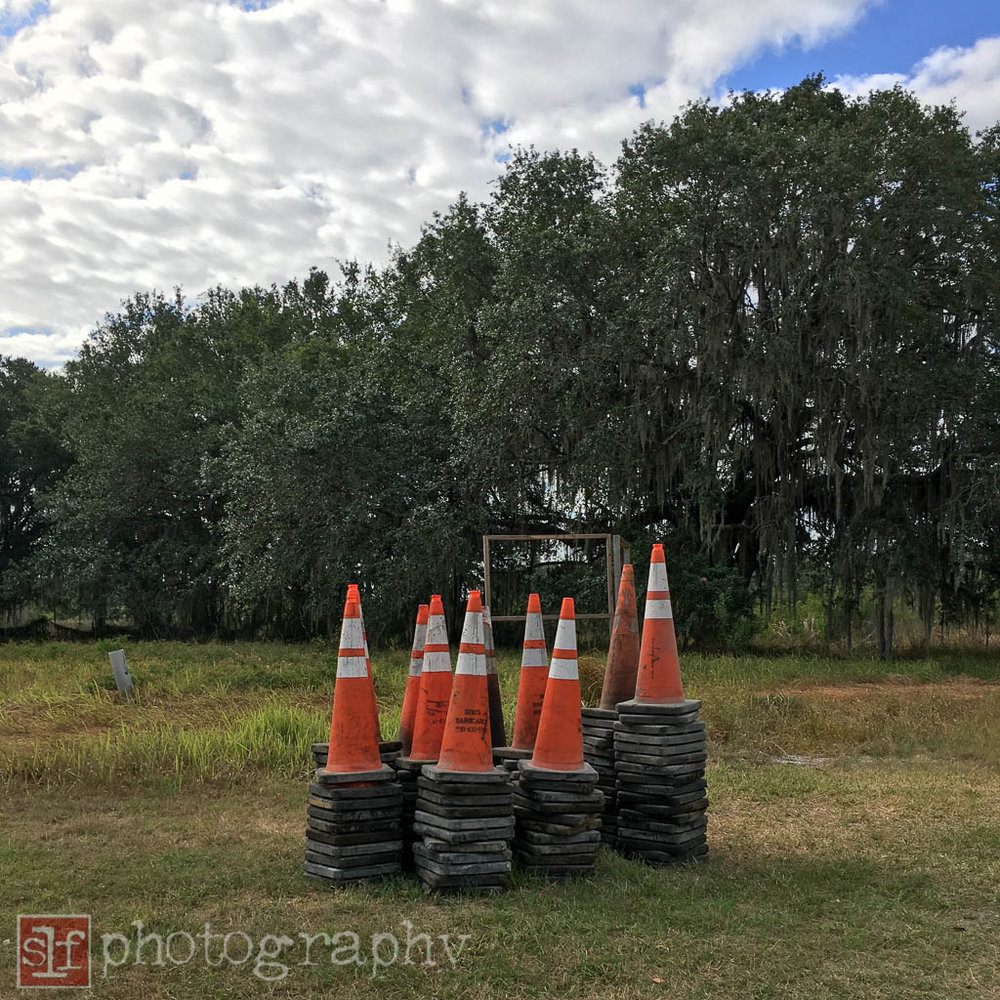 construction cones waiting to be picked up