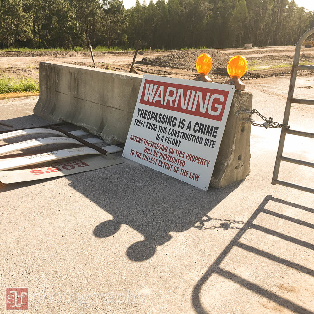 no trespassing on the SR56 extension