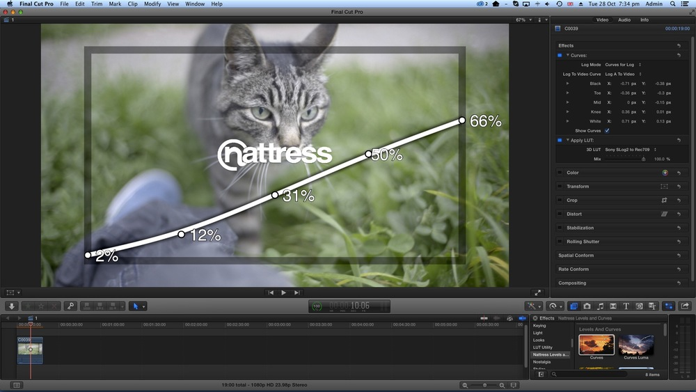 4. The simple solution is to do your exposure and color corrections using an effect or plugin (either FCPX or third party) because they can sit ABOVE the LUT utility plugin in the effects section, unlike the default color corrector which can only sit at the bottom. Here I've shown this example with a trial version of Natress' Curves plugin. (Click for larger)
