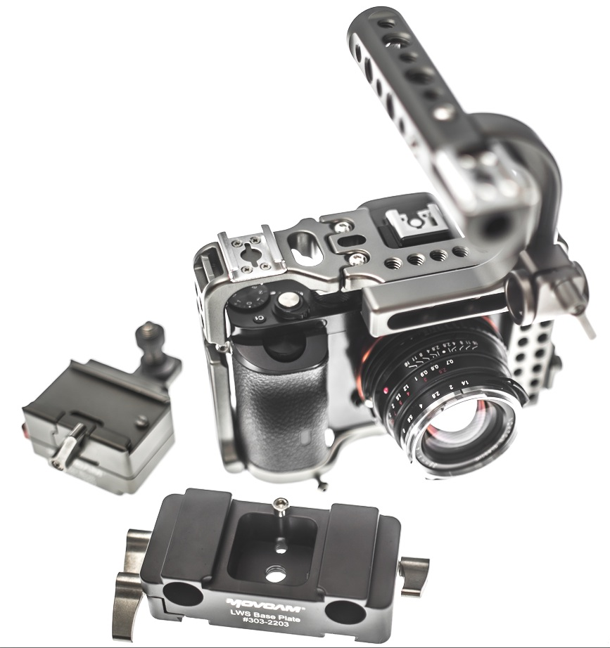 The A7S with the Movcam Cage  [Click to see this item at B&H]  and Voigtlander 35mm f1.4 lens  [LINK] .