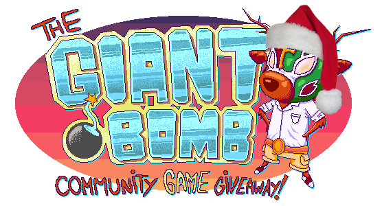 The Giant Bomb Community Game Giveaway banner for December 1st, 2011. Designed by Marcelo Ardon (Deusx), with the Santa hat added by c0l0nelp0c0rn1.