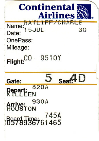 My boarding pass for Houston, Texas.