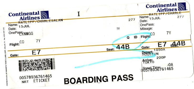 My boarding pass for Tokyo, Japan.