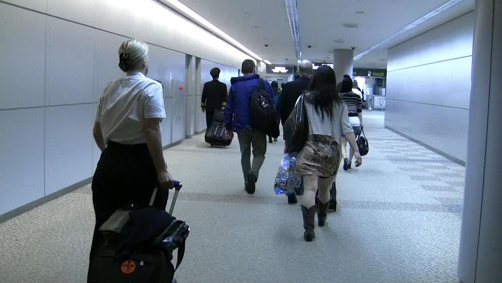 Inside Narita International Airport.