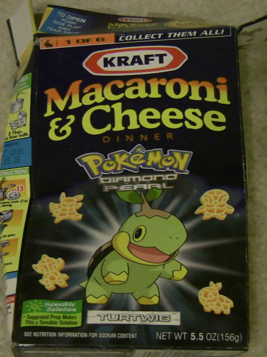 Pokémon Diamond and Pearl Kraft Macaroni & Cheese I got at the Super Market at Shinagawa Station.