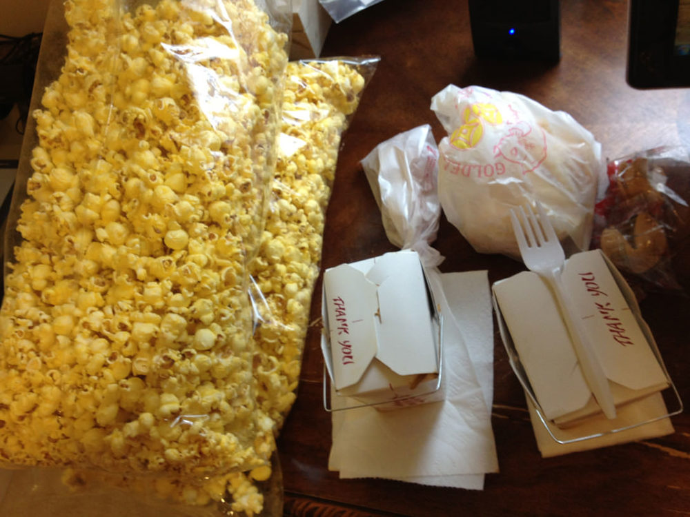 Small Order of Vegetable Lo Mein, Small Order of Vegetable Fried Rice, Small Order of Fries, Egg Roll(s), and Two Bags of Butter Popcorn. Mmmm, delicious.