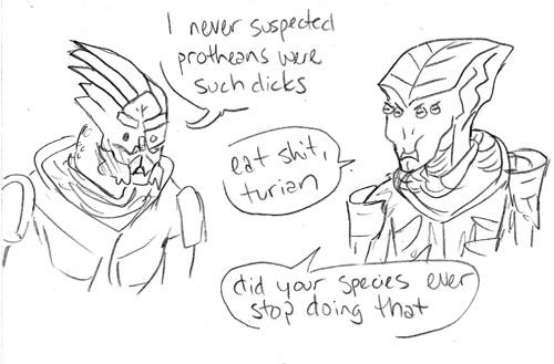 Mass Effect 3 Javik the Dick comic by  skoolmunkee