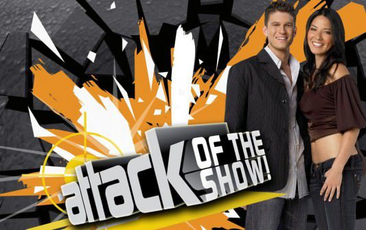 Attack of the Show! promo image featuring Kevin Pereira and Olivia Munn