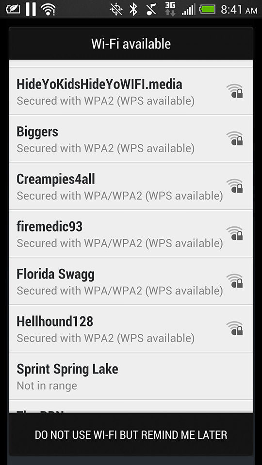 Some entertaining Wi-Fi SSIDs at Fort Bragg, North Carolina.
