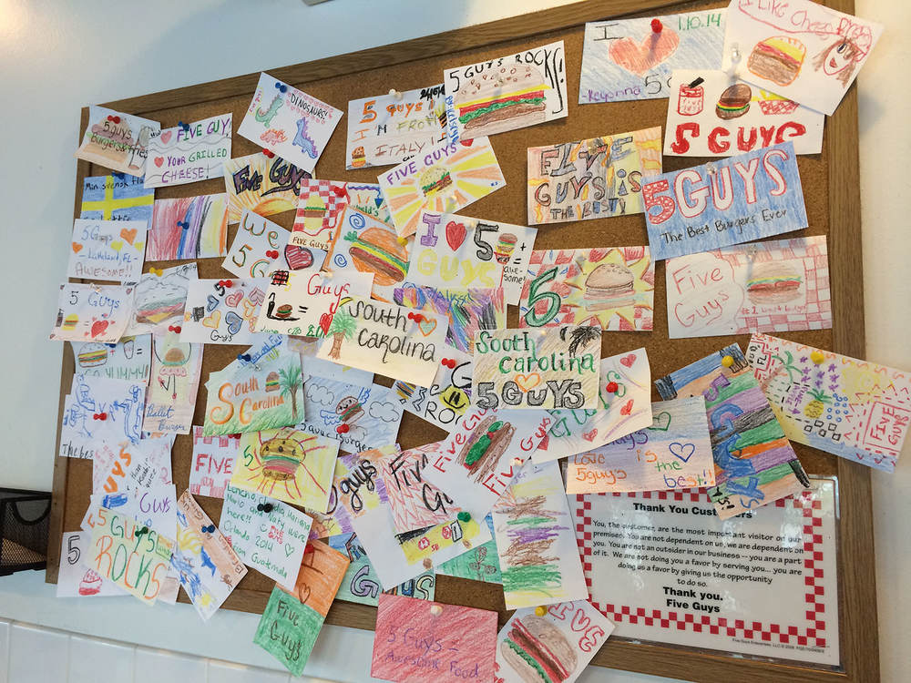 This Five Guys had an additional drawings board.