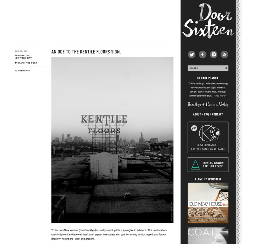 An ode to the Kentile Floors sign.   Door Sixteen.png