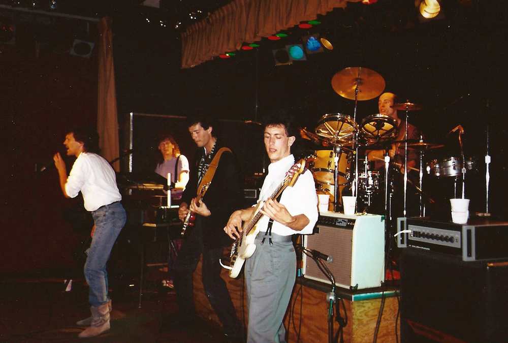 The Distractions was my first and last bar band. (L to R) Tom Thieman, vocals; Cory Verbin, keys; Me, guitars; J Swanson, bass; Jeff Smith, drums.