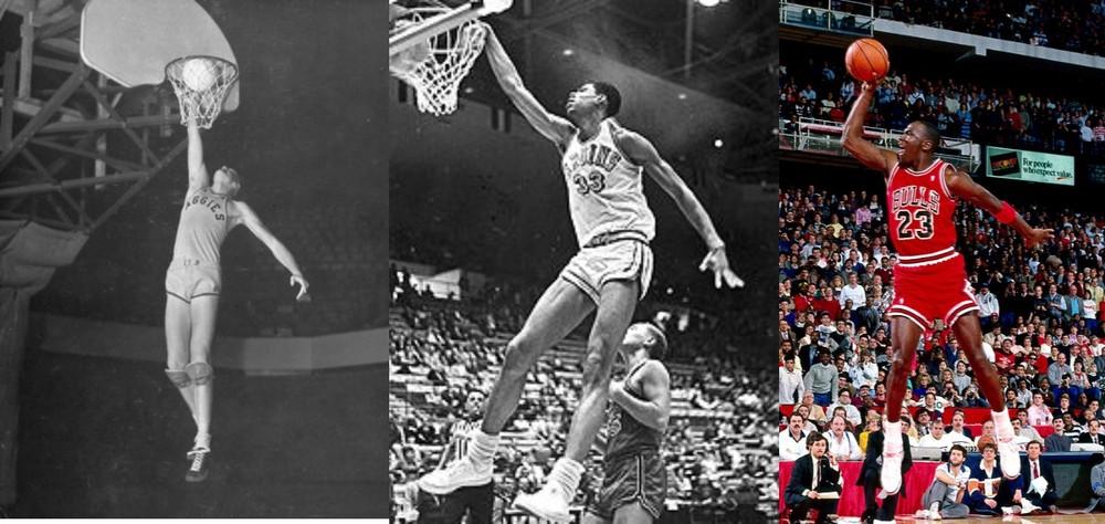 به ترتیب از چپ باب کرلند، لوییس ال سیندر و مایکل جوردن تاریخ سازان اسلم دانک در بسکتبال بودند