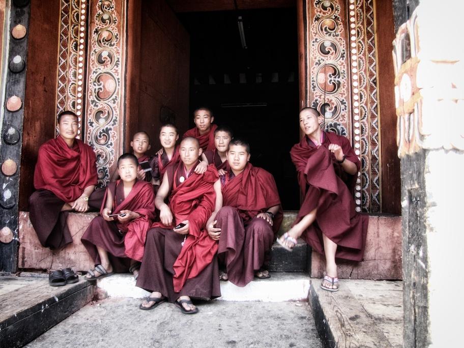 Monks in Paro Dzong