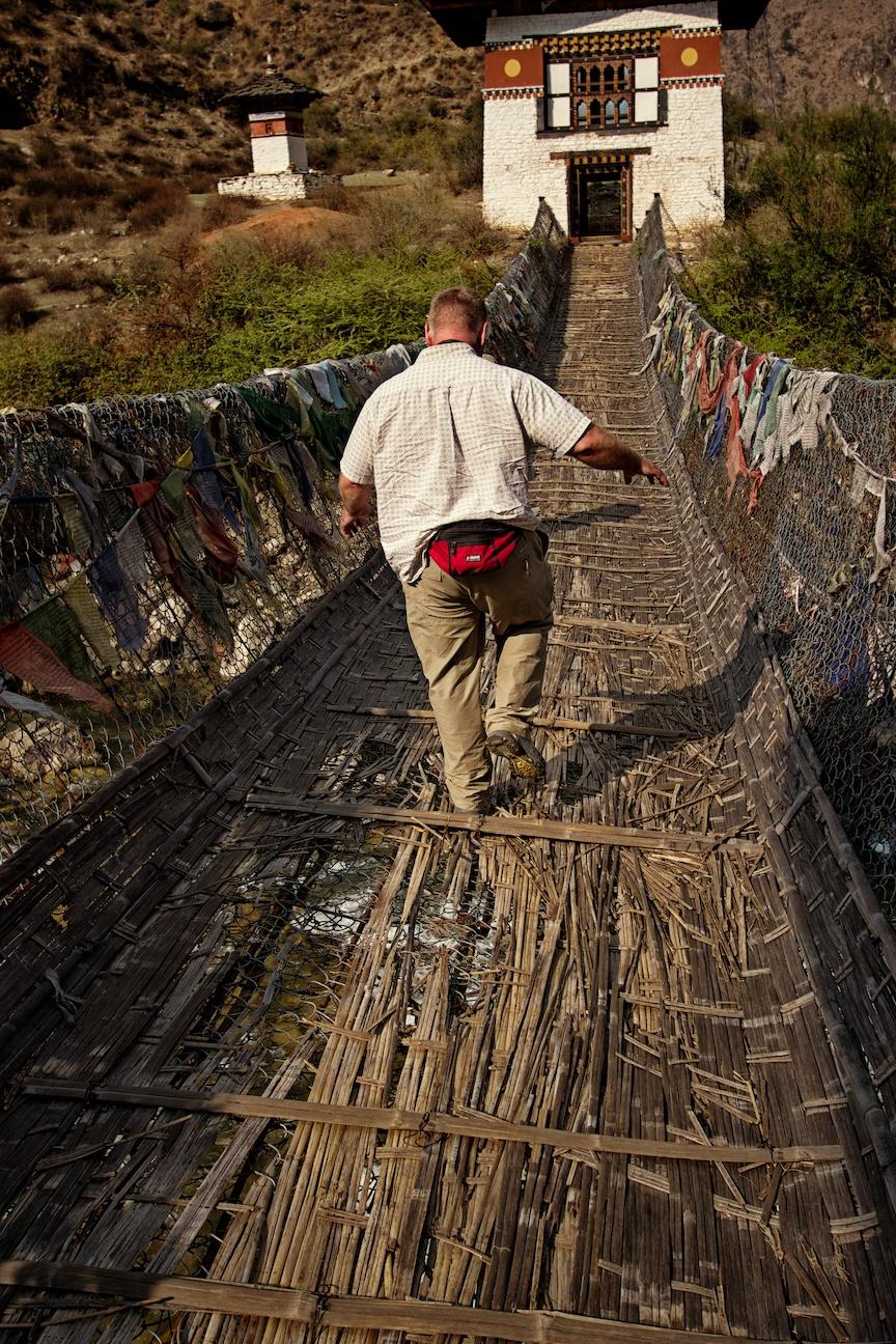 Leo crossing a bridge