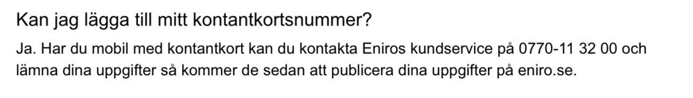 Skärmdump från Eniro.se.