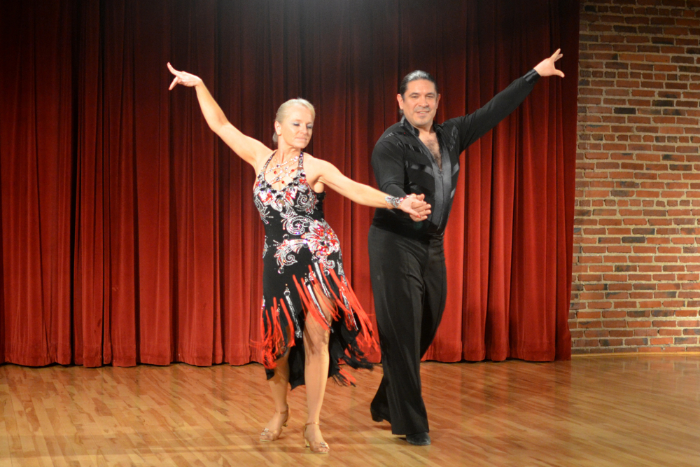 Crystal Tegtmeier performing a Rumba with her instructor, Nick Hernandez.