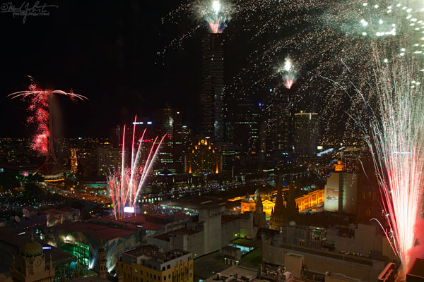 New Year's eve fireworks along Melbourne's Yarra River.