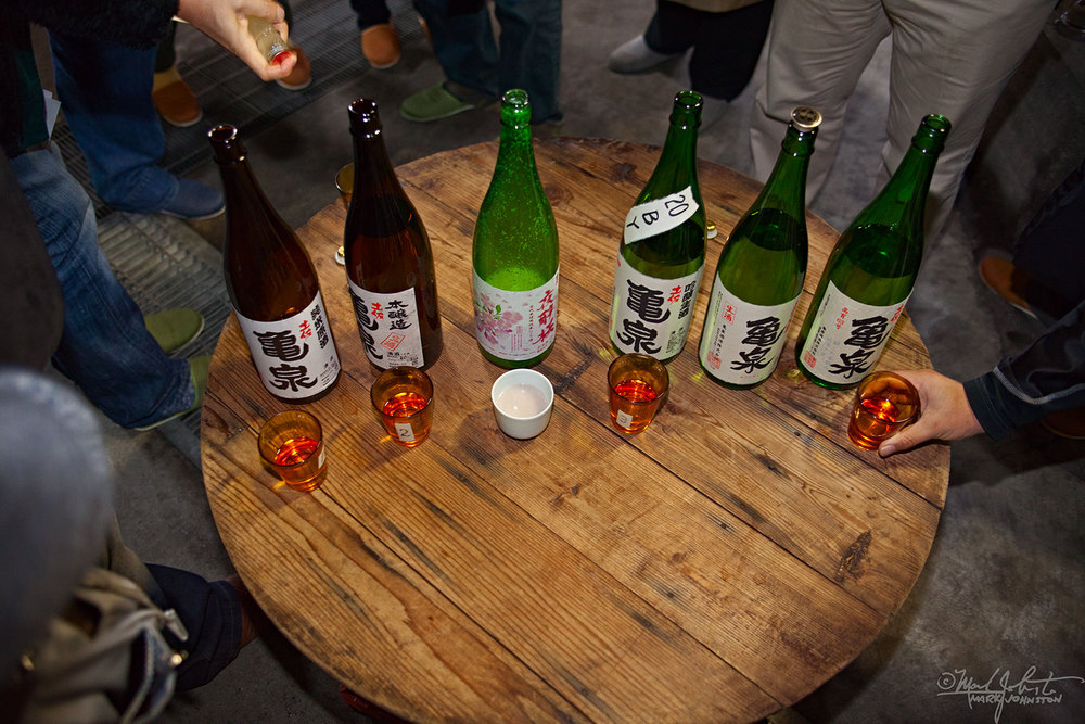 A tasting session of various styles of product.