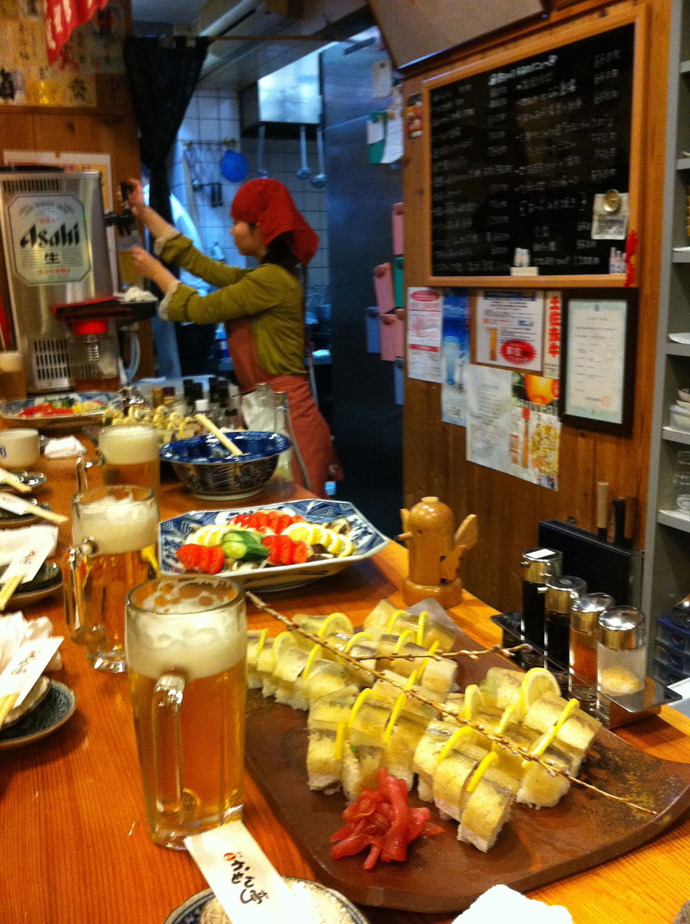 "Small ""Izakaya"" [literally, ""a shop with alcohol"", but perhaps more accurately translated as ""pub""] like this are one of the best things about Japan.  If you can learn a bit of the language, and take the time to build relationships, you can settle into some amazing food, drink, and hospitality."