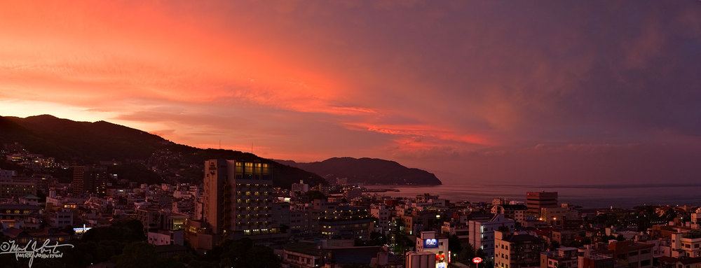 Sunset over the city of Ito, Japan.