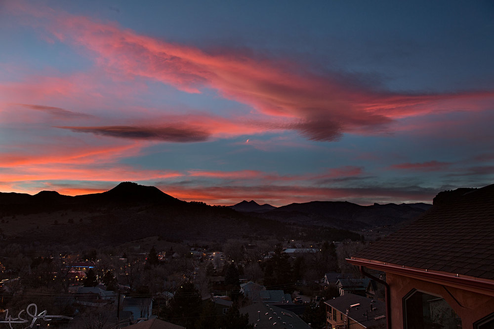 Sunset over Lyons, Colorado.