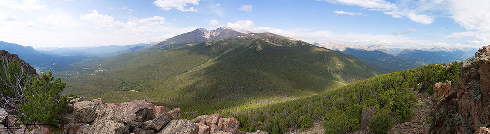 Panoramic view from the top of Estes Cone.  Rt. 7 below left, and Mt. Meeker and Long's Peak at center.