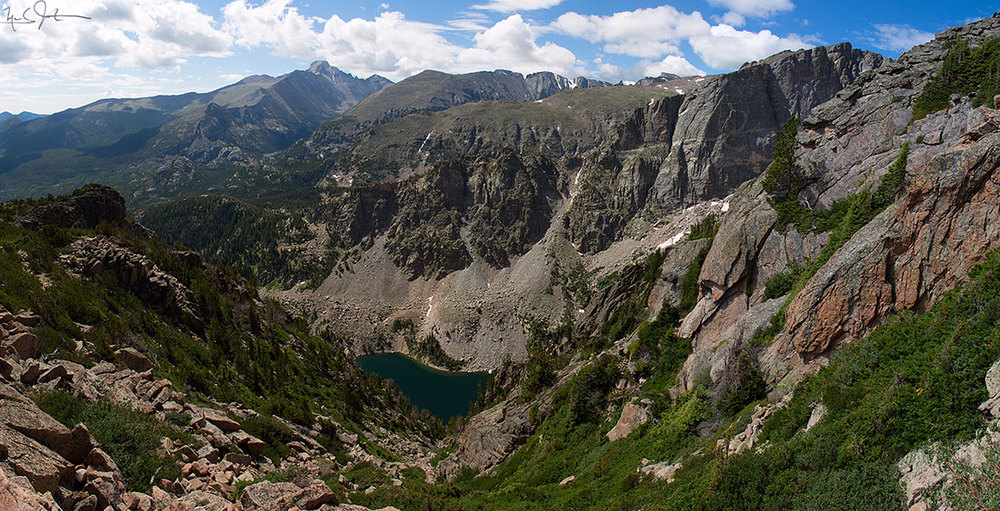 A glimpse of Emerald Lake from the Flattop Mountain trail.