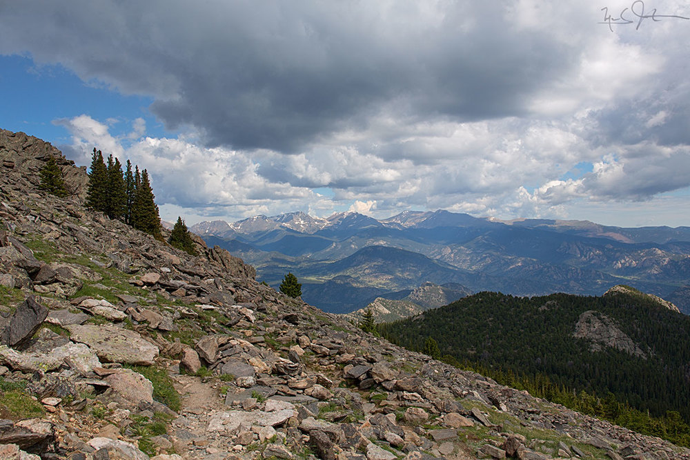 Looking West towards the Never Summer Mountains, from above tree line on Twin Sisters.