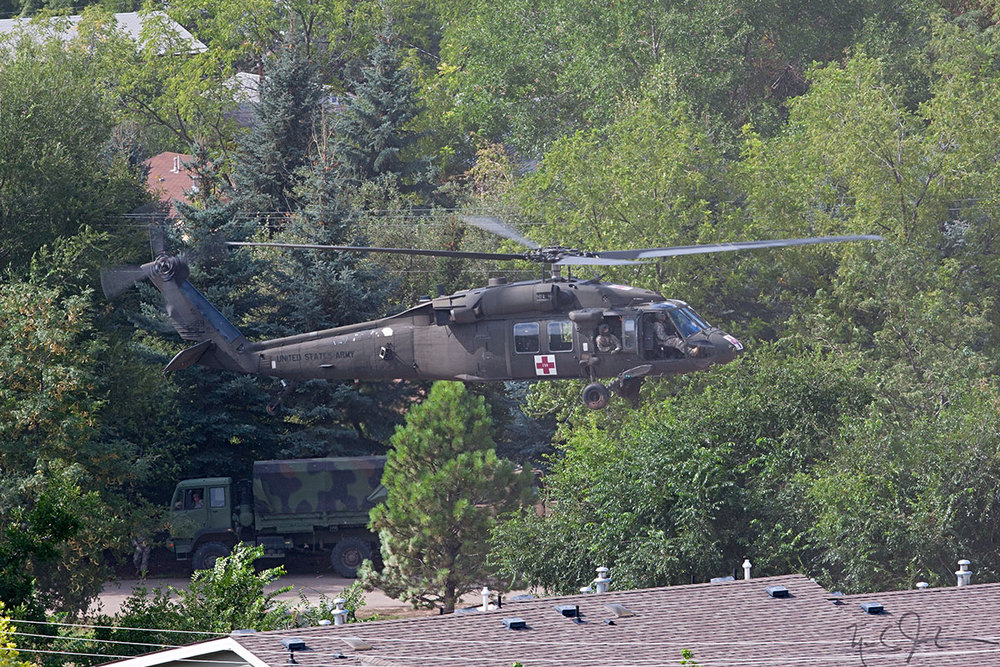 A Blackhawk helicopter sets down on Main St.