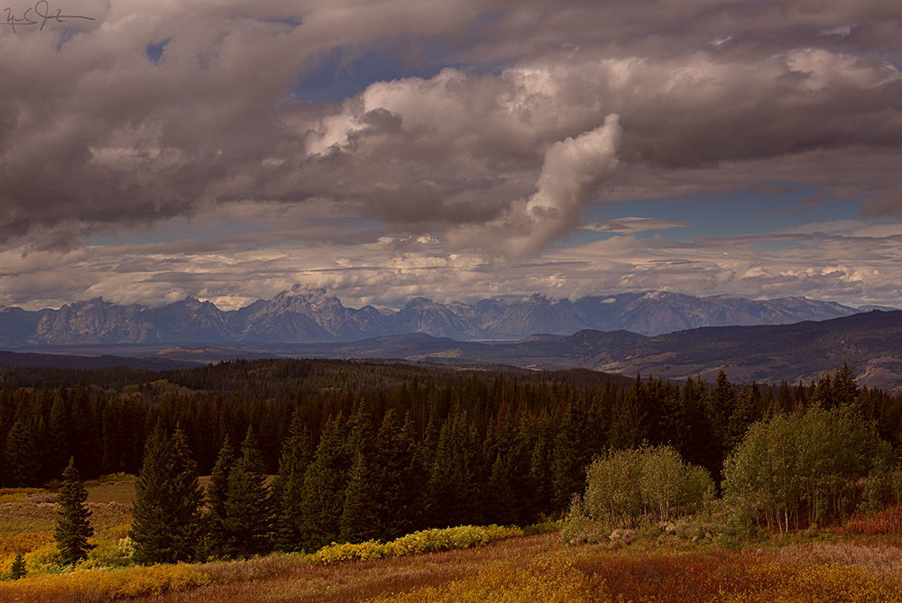 A view of the Grand Teton range from a bit further out to the east - Togwotee Pass.
