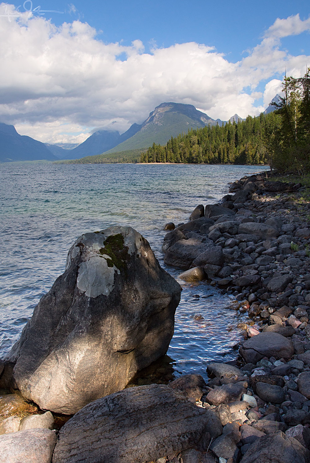 Along the shore of Lake McDonald, Glacier National Park.