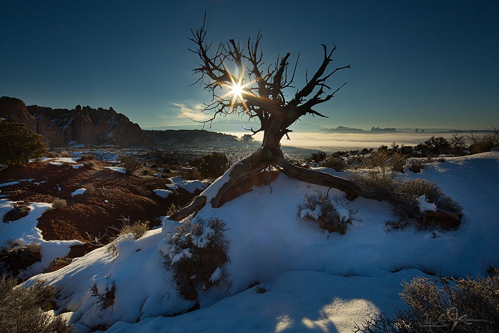 The sun rises over a fog-filled Salt Valley in Arches National Park, Utah on the shortest day of the year in the Northern Hemisphere: 21 Dec.
