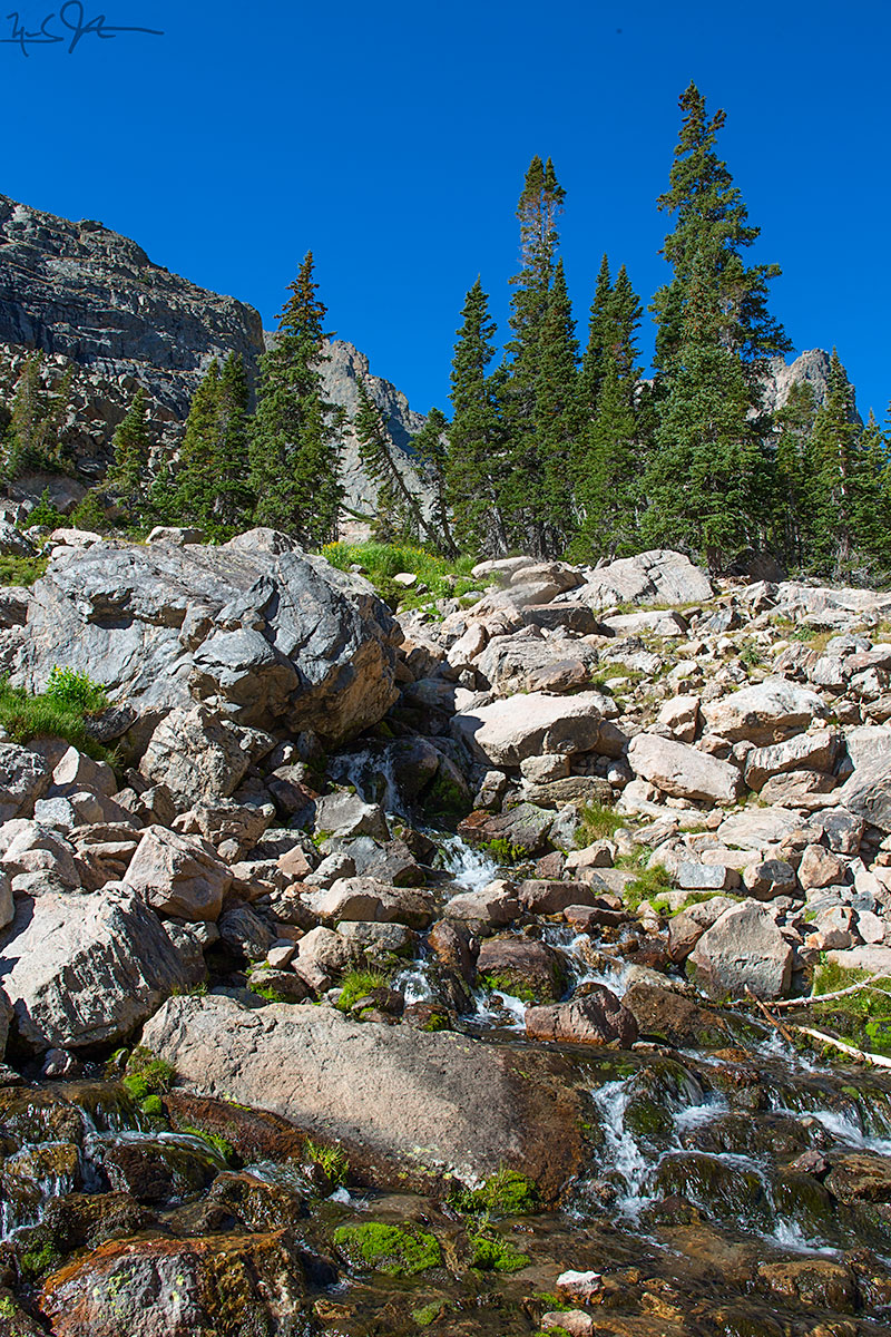 The middle reaches of Andrews Creek cascade over boulders below Andrews Tarn.