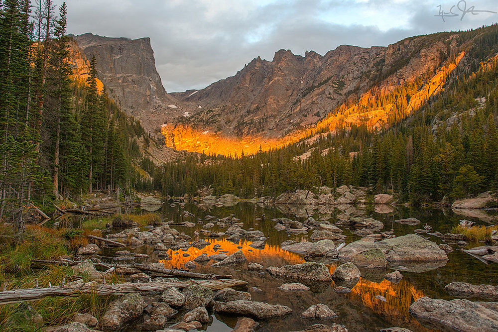 Dream Lake with a splash of morning sunlight.