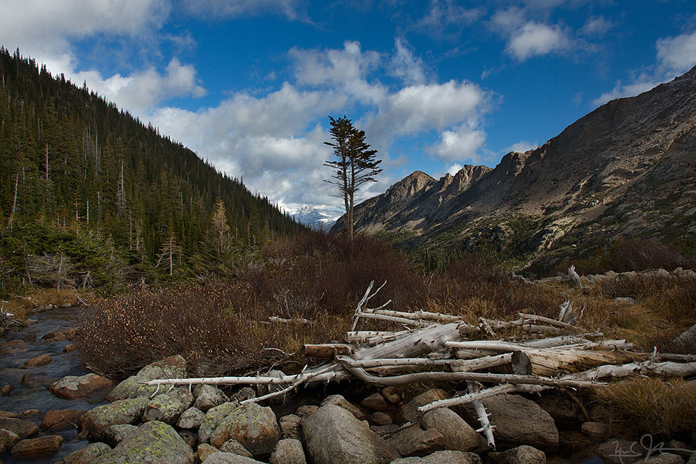 Looking back down Glacier Gorge from the edge of Black Lake.