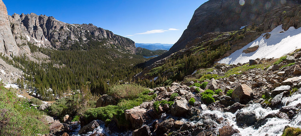 "A bit of ""berglandschaft: looking down Glacier Gorge from the lip of Timberline Falls."