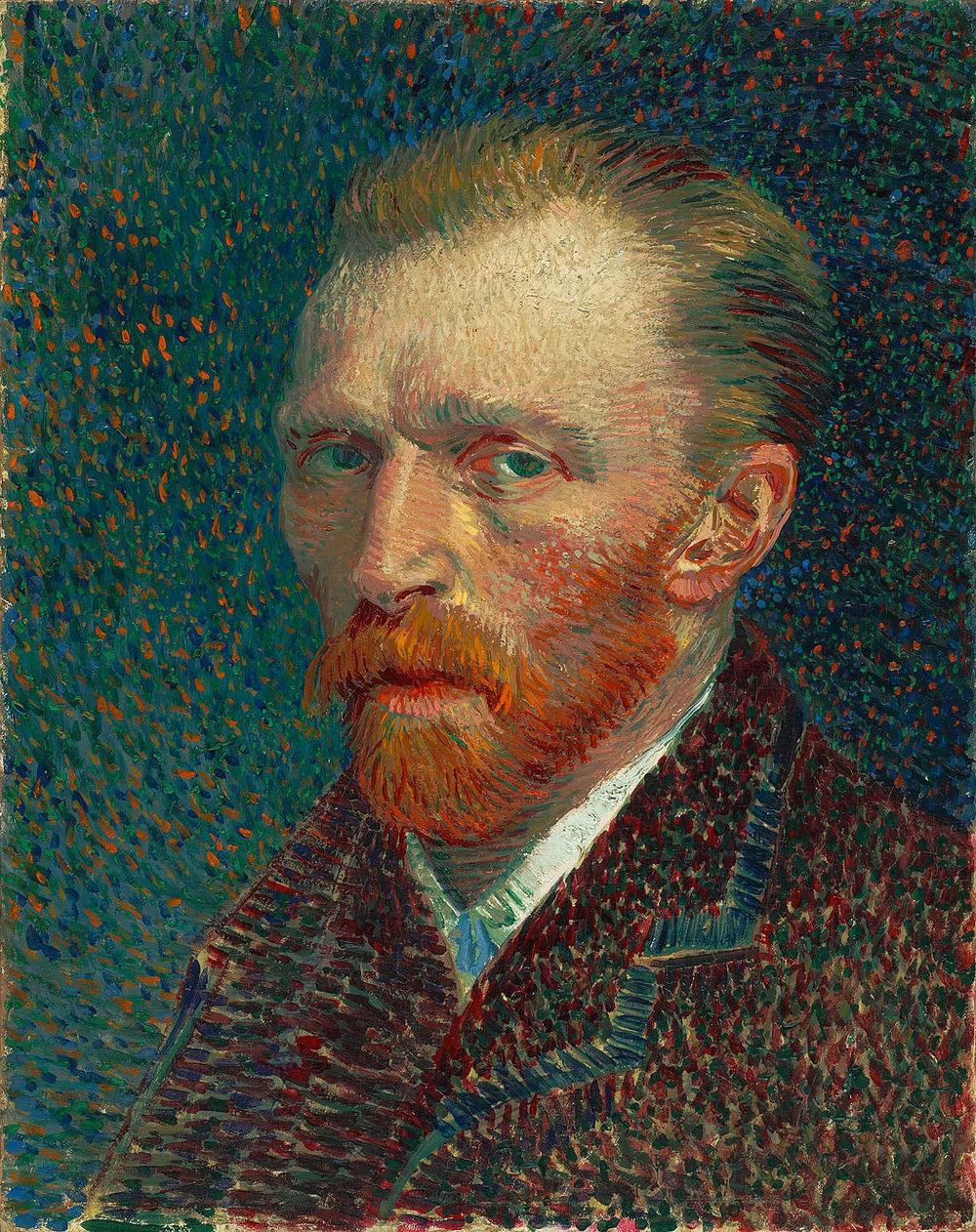Vincent van Gogh, Self Portrait , 1887. Pointillistic painting technique.