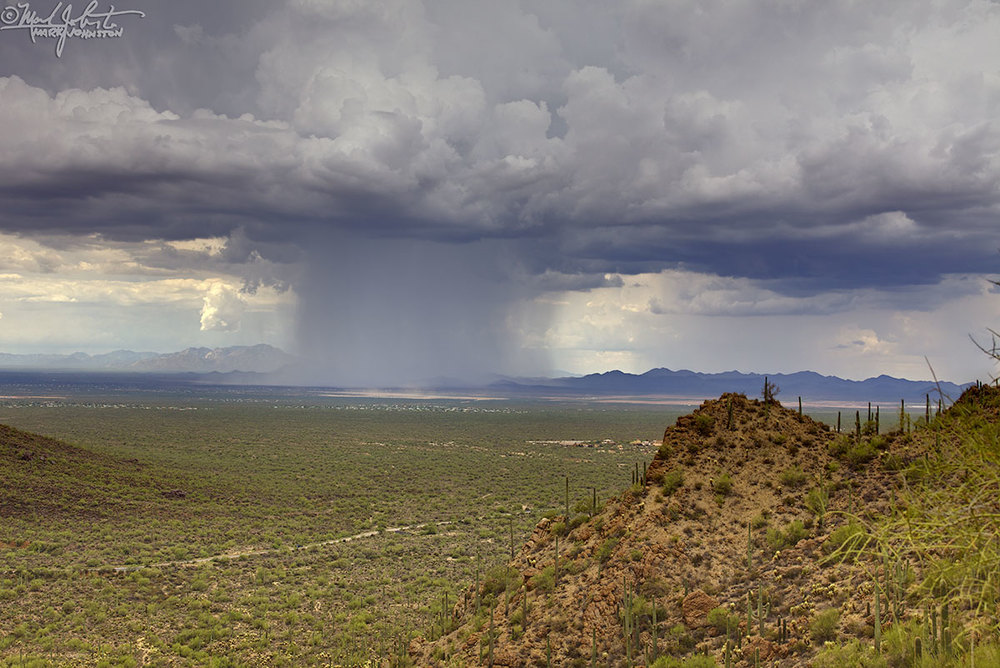 Rain squall west of Tucson, Arizona, from Gates Pass.
