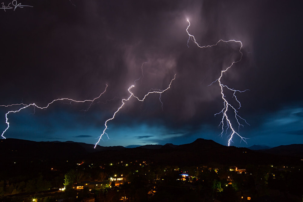 Summer lightning over Lyons, Colorado.