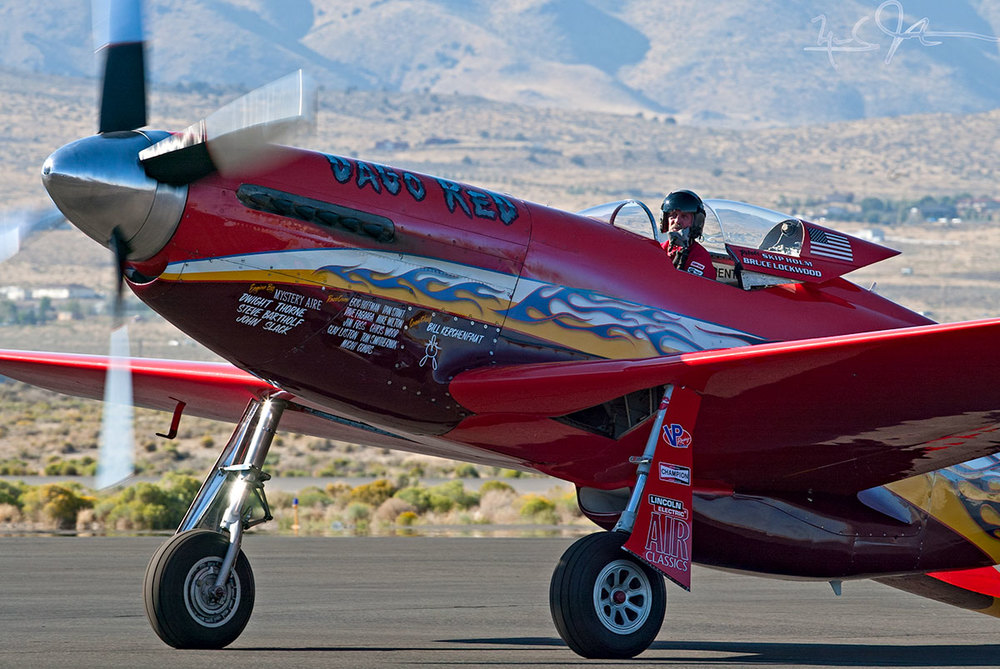 "Lockheed Skunk Works alumnus Skip Holm pilots P-51D ""Dago Red"" at the Reno Air Races."