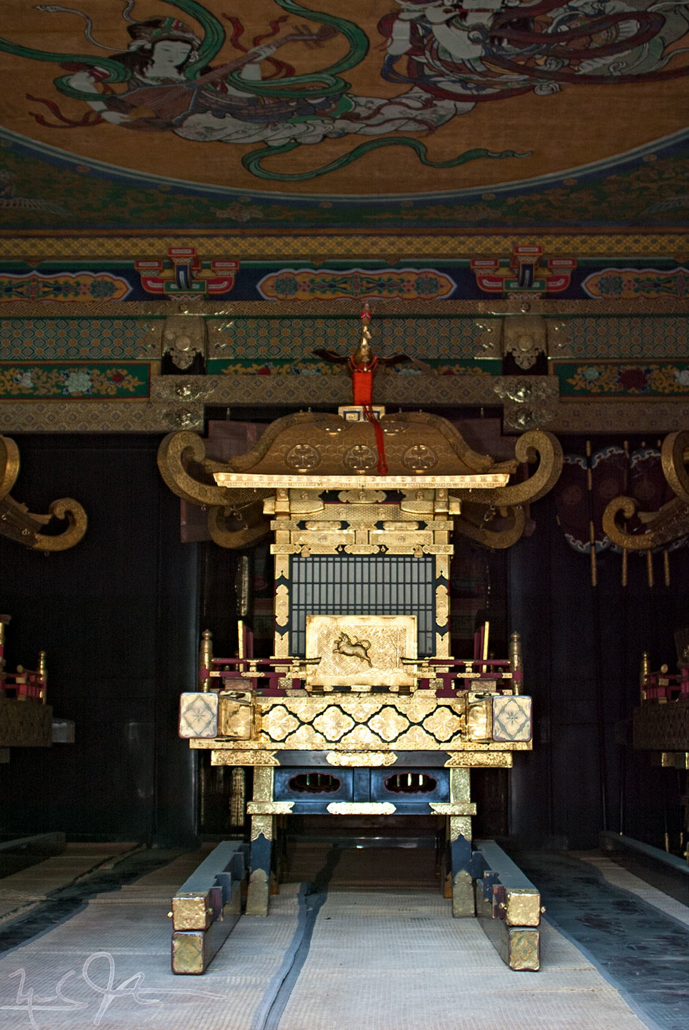 Mikoshi  such as this are carried on special festival days in Japan.  This one is kept at Toshogu [東照宮] in Nikko, Japan, where Yaesu, the first Tokugawa shogun is enshrined.