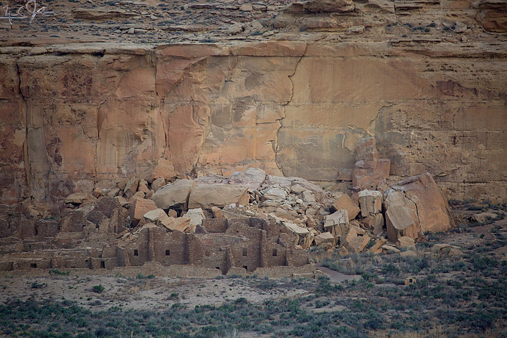 "A closer view showing the fragments of so-called ""threatening rock"", which fell onto the northeast corner of the structure in January 1941, destroying about 30 rooms."