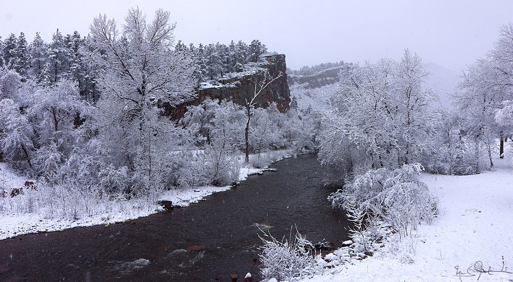 Snowfall on the north branch of the St. Vrain River near Lyons.
